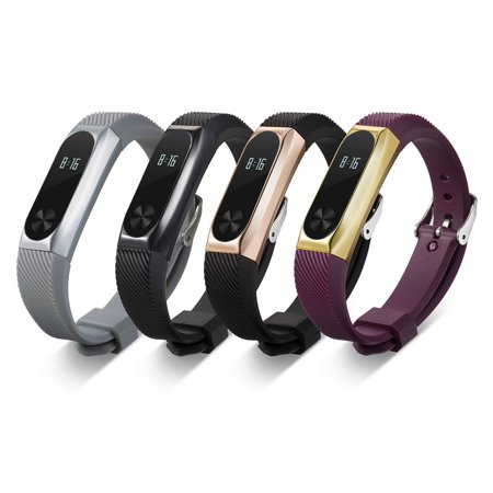 New Fashion Replacement Wristband Band Strap + Metal Case For Xiaomi Mi Band 2 Bracelet BK