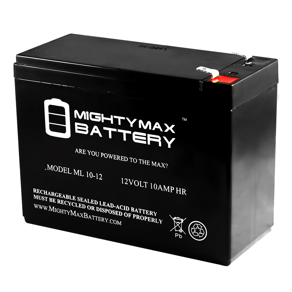 ML10-12 12V 10AH BATTERY RIM UN10-12S T2 (F2) .250 TERMINALS REPLACEMENT by Mighty Max Battery