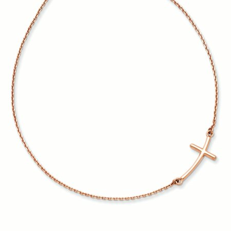 14k Rose Gold Large Sideways Curved Cross Religious Chain Necklace Pendant Charm Crucifix Gifts For Women For Her