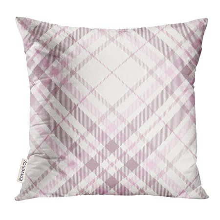 STOAG Border Tartan Plaid Pattern in Shades of Pink Dusty Purple and White Check Checker Throw Pillowcase Cushion Case Cover 16x16 inch ()