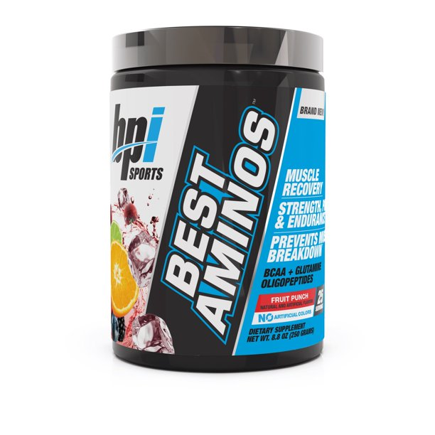 BPI Sports Best Aminos BCAA + Glutamine Powder, Fruit Punch, 25 Servings