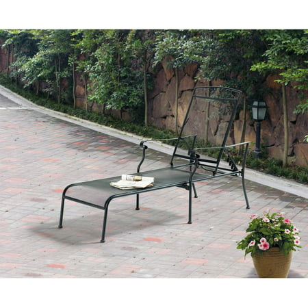 Mainstays jefferson wrought iron chaise lounge black for Black wrought iron chaise lounge