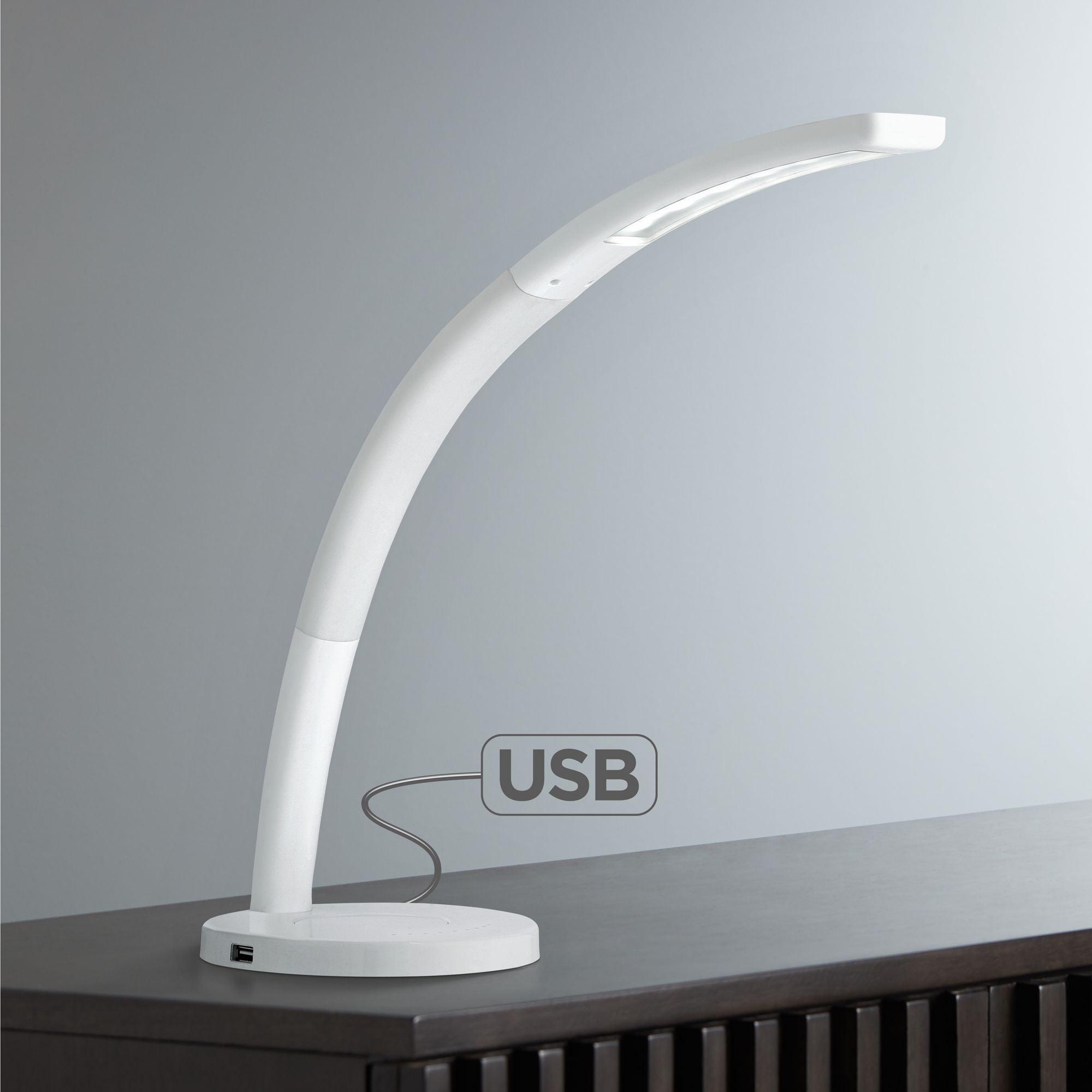 360 Lighting Spree White Led Desk Lamp With Usb Port