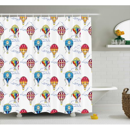 colorful shower curtain hand drawn sketches clouds and hot air balloons kids playroom nursery - Colorful Shower Curtains
