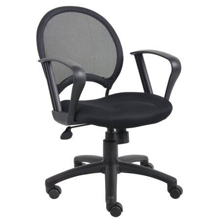 Boss Office & Home Black Task Chair with Loop Arms