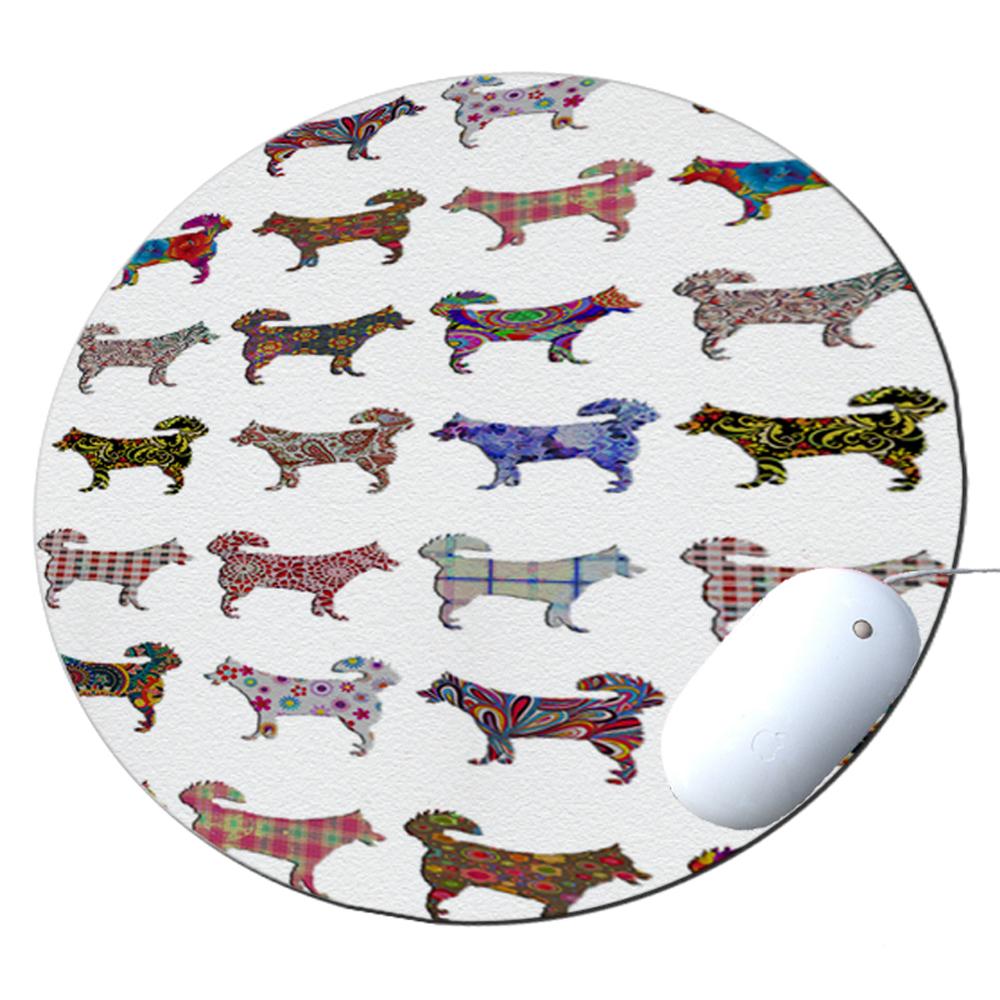 KuzmarK Round Mousepad / Hot Pad / Trivet - Siberian Husky Dog