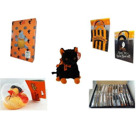 Halloween Fun Gift Bundle [5 Piece] -  Ghost Pumpkin Push In 5 Piece Head Arms Legs -