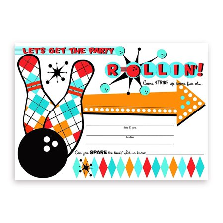 Bowling Party LARGE Invitations