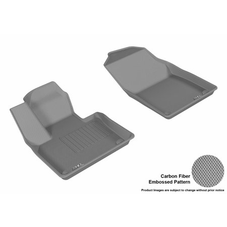 425 Carbon Fiber - 3D MAXpider 2015-2017 Volvo XC90 Front Row All Weather Floor Mats in Gray with Carbon Fiber Look