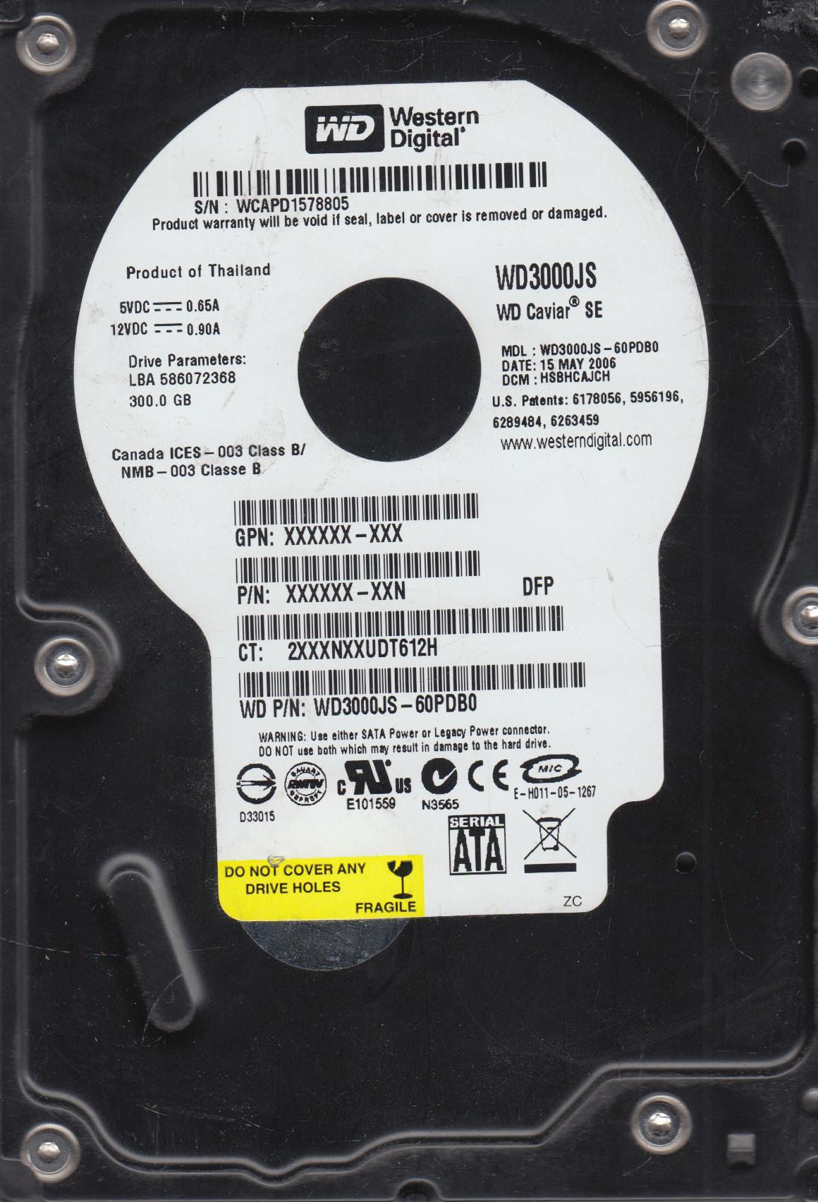 WD3000JS-60PDB0, DCM HSBHCAJCH, Western Digital 300GB SATA 3.5 Hard Drive by Western Digital