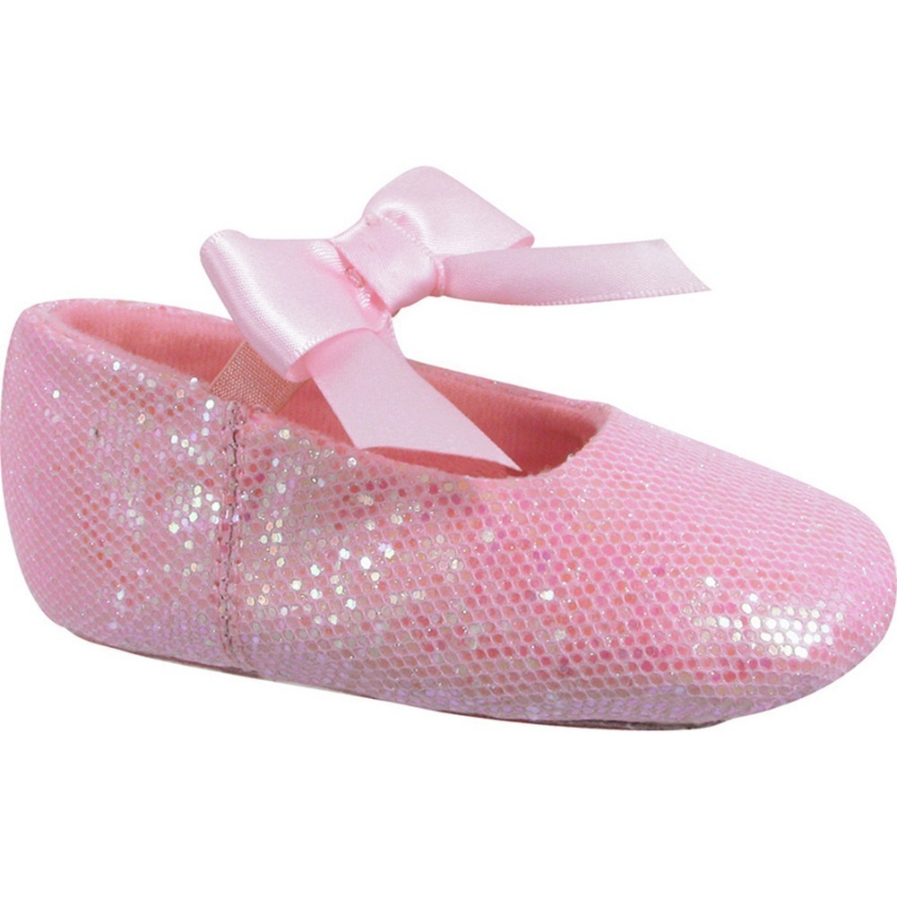 Girls Pink Leather Outsole Satin Bow Glitter Ballet Shoes 2 Baby-12 Kids