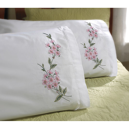 "Bucilla Dogwood Branch Stamped Embroidery Pillowcase Pair, 20"" x 30"""