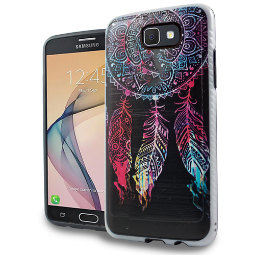 Colorful Dreamcatcher Brushed Armor Anti-Shock Case For Samsung Galaxy J7 Perx / J7 Prime / Sky Pro Phone