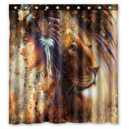 PHFZK Abstract Shower Curtain, Indian Woman Wearing Feather Headdress with Lion Polyester Fabric Bathroom Shower Curtain 66x72 inches ()