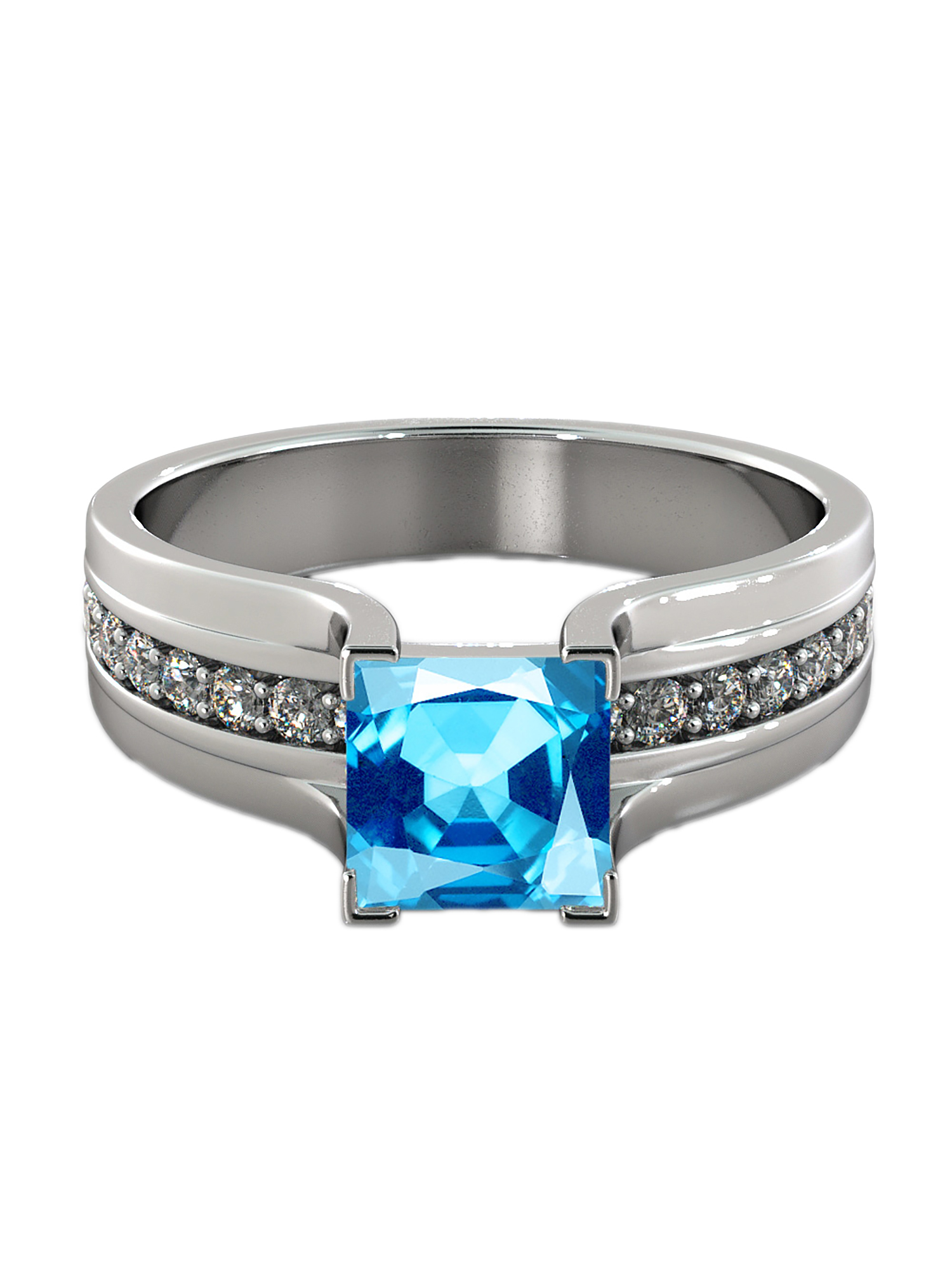Aquamarine 5.20 ctw Ring with Diamonds 14K White Gold Bridge Channel set Princess by Diamonds Mine