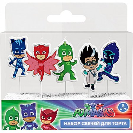 PJ Masks Molded Pick Candle Set 5ct Birthday Party Supplies Cake Topper Decoration