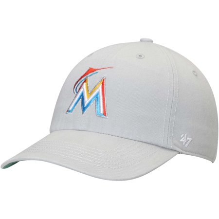 Florida Marlins Logos - Miami Marlins '47 Primary Logo Franchise Fitted Hat - Gray