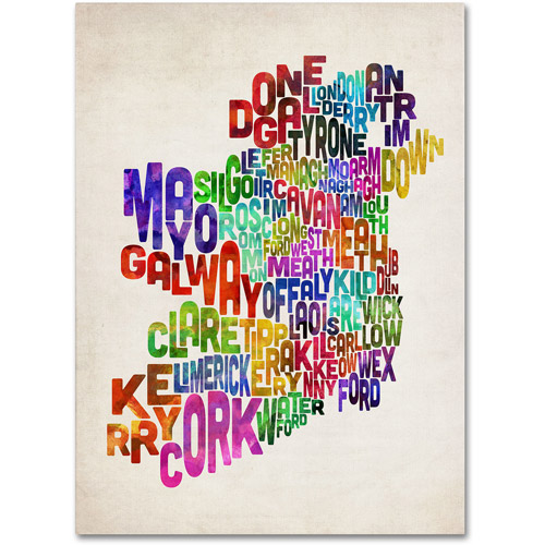 Trademark Art 'Ireland Text Map 3' Canvas Art by Michael Tompsett