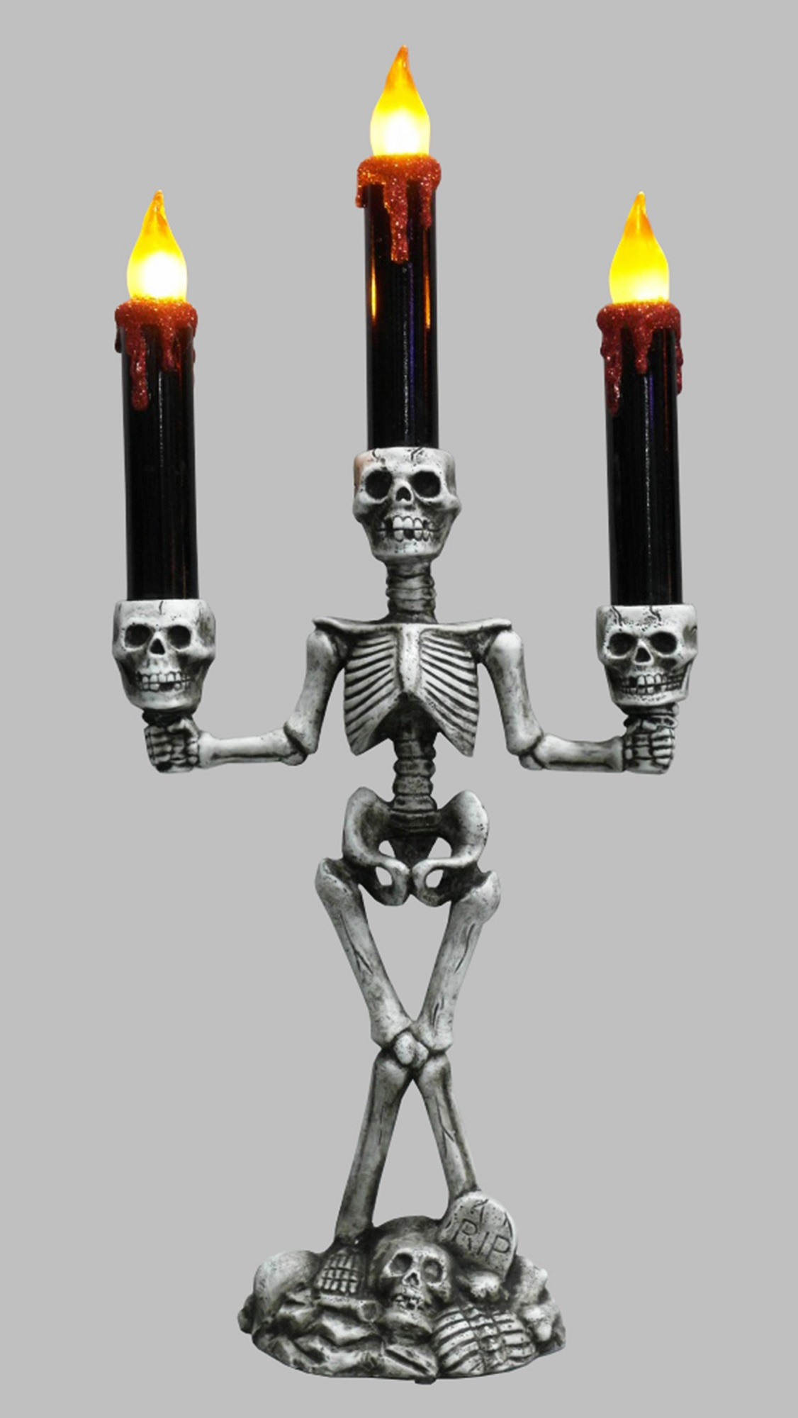 "14.25"" LED 3-Tier Flickering Skeleton and Skulls Halloween Candelabra by Northlight"