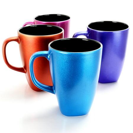 Luster Flare 16 oz Mug, 4 Assorted Colors Set of 4