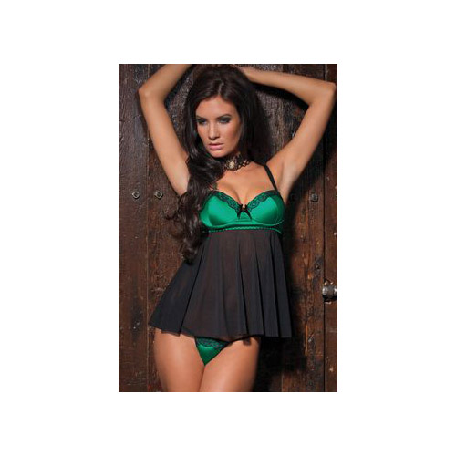Coquette Green Satin Babydoll and G-String 1065 Green/Black