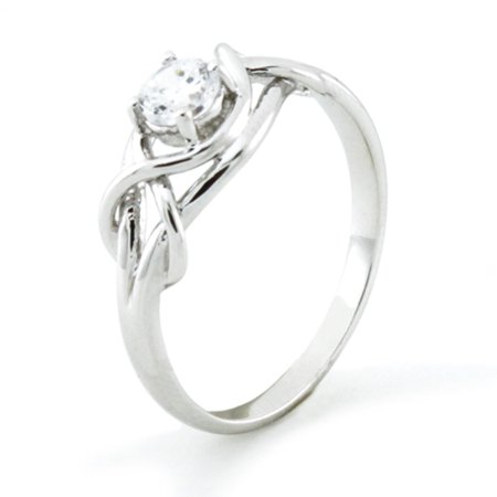 Sterling Silver Cubic Zirconia Twisted Infinity Knot Solitaire Promise Engagement Ring Cubic Zirconia Twist Ring