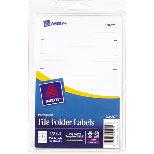 Avery Print or Write File Folder Labels 5202, 1/3 Cut, 252-Pack
