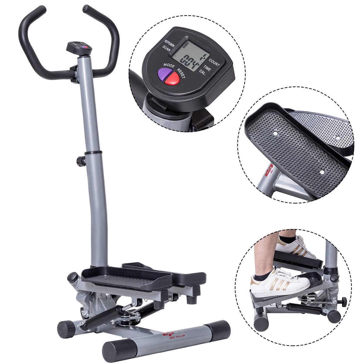 GHP Home/Gym Gray & Black Adjusable Twist Stepper Workout Machine w LCD Display