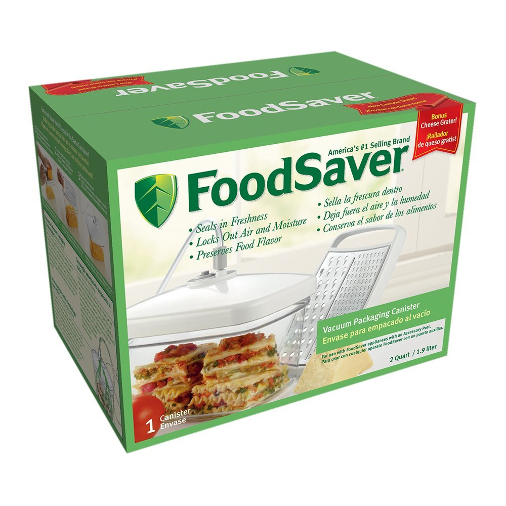 Rectangular Canister with Bonus Cheese Grater, 2 quart size By FoodSaver,USA