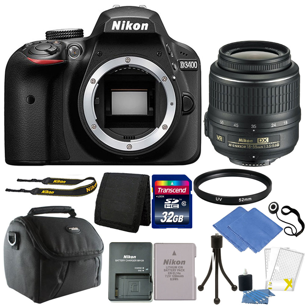 Nikon D3400 24MP Digital SLR Camera with 18-55mm VR Lens + 32GB Great Value Kit