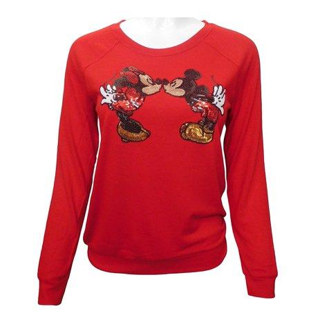Mickey & Minnie Mouse Juniors Sequin Sweatshirt (Medium) W3