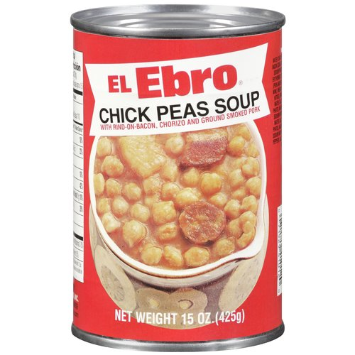 El Ebro Chick Peas Soup with Rind-On-Bacon, Chorizo And Ground Smoked Pork, 15 oz by EL EBRO