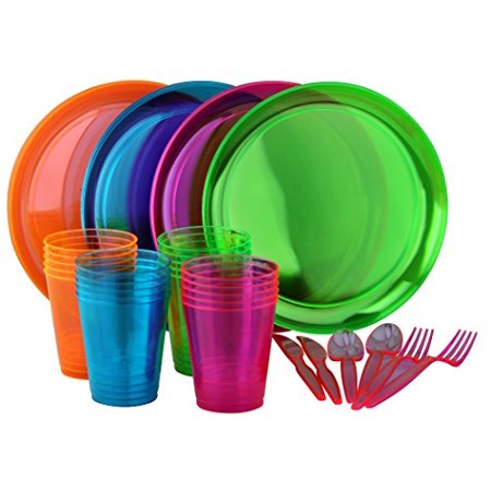 Bright Neon Party Set! Includes Assorted Colors of Neon Plates, Cups & Cutlery by PartyLovers? - Neon Caps