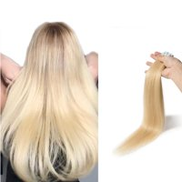 "S-noilite 16-24 Inches Tape in Hair Extensions 100% Remy Human Hair Double Side Tape Weft Natural Hair Extensions 20pcs Long Straight Silky for Women Bleach blonde-18"",50g"