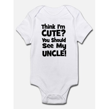 Think I'm Cute? Uncle - Black Infant Bodysuit - Baby Light