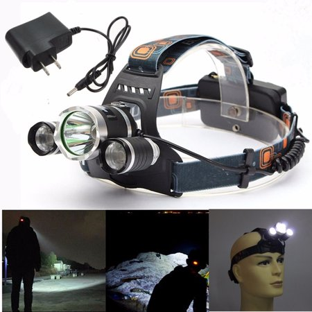 Headlamp Flashlight Torch (Elfeland 5000 Lumens 3 x T6 LED Rechargeable Headlight Headlamp Flashlight Torch Waterproof + AC Charger For Hiking Camping Riding Fishing (Not Included)