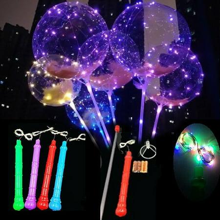 Light Up Balloon Stick (12 Bobo LED Balloons Light Up Transparent Balloon Birthday Party Decor +)