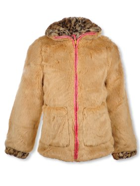 Jessica Simpson Girls' Leopard Trim Reversible Jacket