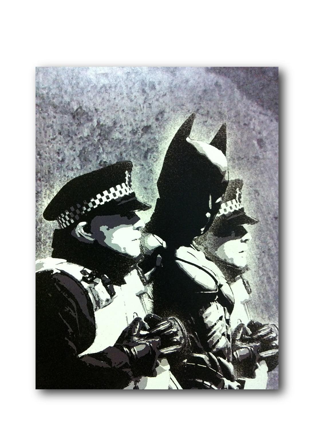 "Banksy Batman Police Arrest Brushed Aluminum Metal Print (14"" x 11"") by Pingotopia Inc."