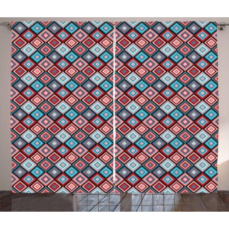 Aztec Curtains 2 Panels Set, Ethnic Rhombus Vintage Mexican Pattern with  Historical Arabesque Moroccan Effects, Window Drapes for Living Room  Bedroom,