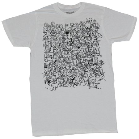 Fallout Mens T-Shirt - A Sea Of Hundreds of Vault Boys Doing All Kinds of Stuff](Fall Out Boy Simpsons)