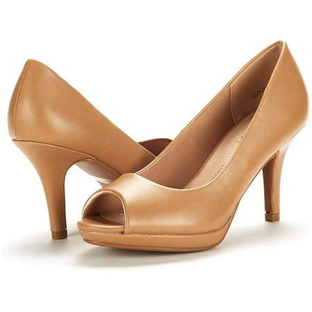 DREAM PAIRS Women's City_ot Fashion Stilettos Peep Toe Pumps, Nude Pu, Size 6.0