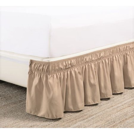 Full Taupe Elastic Wrap Around Dust Ruffled Bed Skirt Bedding Bed Dressing Easy Fit 14