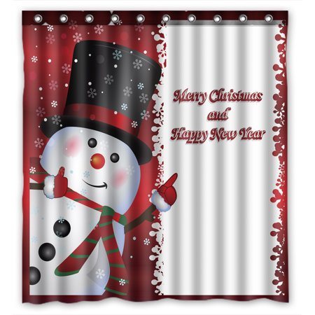 - YKCG Red Christmas Snowman Quotes Winter Snowflakes Shower Curtain Waterproof Fabric Bathroom Shower Curtain 66x72 inches