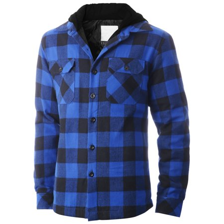 Ma Croix Mens Hooded Flannel Shirts Quilted Plaid Jacket (Quilted Flannel Jacket)