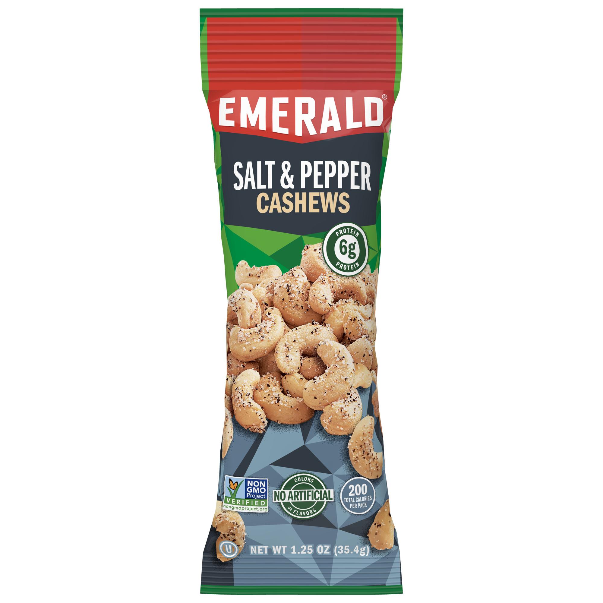 Emerald Nuts Salt and Pepper Cashews, Single-Serve 1.25 Oz, 12 Ct