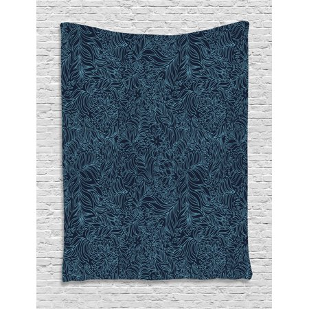 Navy and Teal Tapestry, Abstract Artistic Flourish Nature Inspired Pattern Leaves Blossoms, Wall Hanging for Bedroom Living Room Dorm Decor, 40W X 60L Inches, Dark Blue Turquoise, by Ambesonne