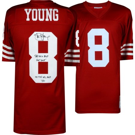Steve Young San Francisco 49ers Autographed Red Replica Mitchell & Ness Jersey with Multiple Inscriptions - Limited Edition of 8 - Fanatics Authentic Certified