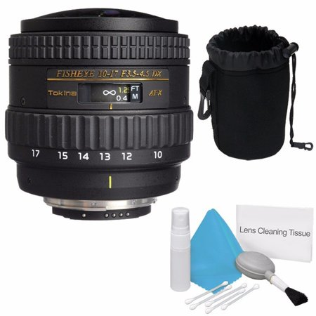 Tokina 10-17mm f/3.5-4.5 AT-X 107 AF DX NH Fisheye Lens for Nikon (International Model) No Warranty + Deluxe Cleaning Kit + Deluxe Lens Pouch Bundle (Tokina 10 17mm Fisheye Lens For Canon)