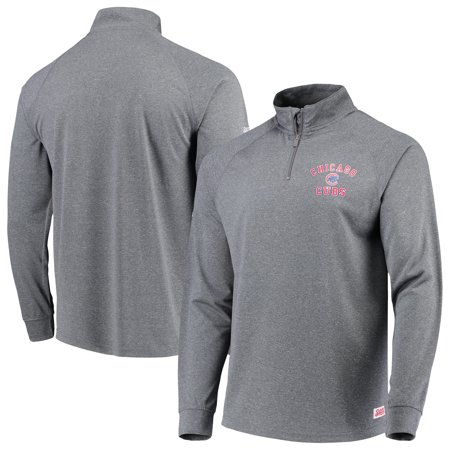Chicago Cubs Stitches Team Raglan Quarter-Zip Pullover Jacket - Heathered (Stitch Detail Jacket)